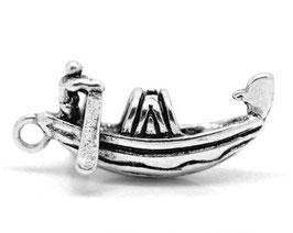 Breloque gondole de Venise en métal argenté  - 23 x 11 mm