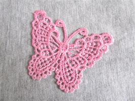 Applique papillon en dentelle rose à coudre 65 x 49 mm -