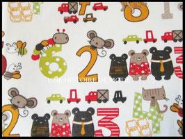 Tissu enfant en coton imprimé chiffres et animaux -  50 x 45 cm - coupon T85