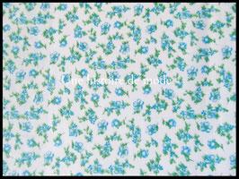 Tissu coton à petites fleurs bleues  - 50 x 45 cm - Coupon T89