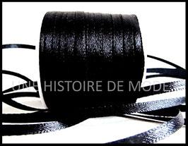 1 mètre de ruban satin noir 3 mm