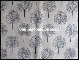 Tissu arbre en lin et coton 50 x 45 cm