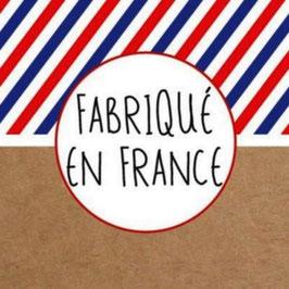 """10 étiquettes autocollantes carrées ,  marquées """" FABRIQUE EN FRANCE  """""""