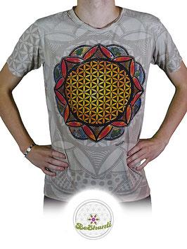 Mirror Design T-Shirt 'Flower of Life', hellgrau