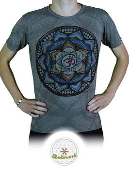 Mirror Design T-Shirt 'Lotus & Mandala', grau