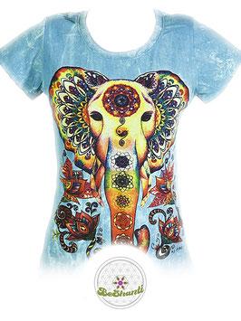 NoTime Design Ladyshirt 'Chakra Elefant', Batik, taubenblau