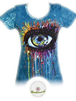 NoTime Design Ladyshirt 'Open Your Eyes', Batik, blau