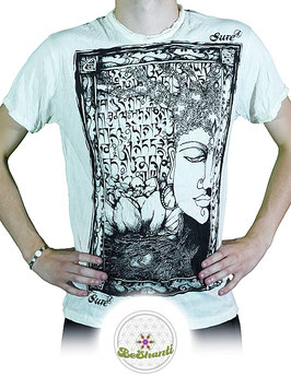 SURE Design T-Shirt 'Buddha & Lotus', weiß