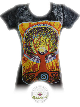 NoTime Design Ladyshirt 'Tree of Life', Batik, dunkelgrau