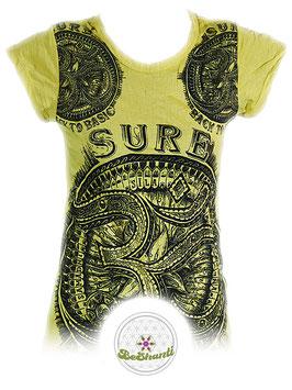 SURE Design Ladyshirt 'Be more OM', gelb