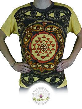 Weed Design T-Shirt 'Shri Yantra', gelb