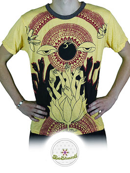 Weed Design T-Shirt 'Lotus Dance', gelb