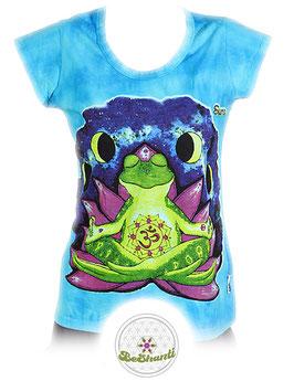 SURE Design Ladyshirt 'Be shanti', Batik, türkis
