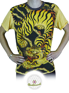 Weed Design T-Shirt 'Be a Tiger', gelb