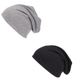 Doppelpack Beanie Mütze schwarz und grau