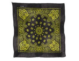 Bandana schwarz-gelb mit Paisley Muster auch als Mundschutz verwendbar