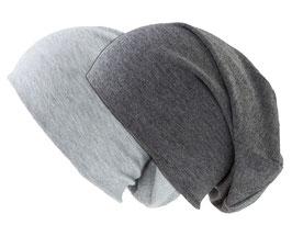 Doppelpack Beanie Mütze hellgrau und dunkelgrau