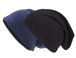 Doppelpack Beanie Mütze navy und schwarz