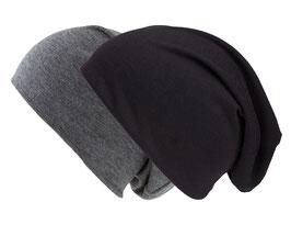 Doppelpack Beanie Mütze schwarz und dunkelgrau