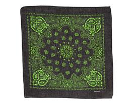 Bandana schwarz-grün mit Paisley Muster auch als Mundschutz verwendbar