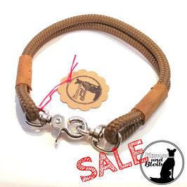 SALE | Halsband PP-Seil schokobraun/Leder