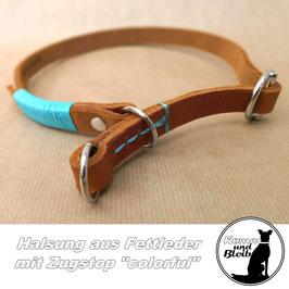 """Halsband Zugstop Fettleder """"colorful"""""""