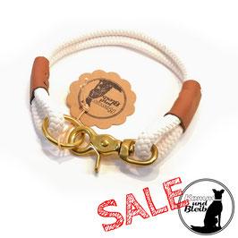SALE | Halsband PP-Seil Creme/Leder