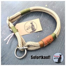 Zughalsband Seil Nature - KU 40cm, sand/oliv