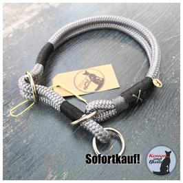 Zughalsband Seil Nature - KU 45cm, silber/schwarz