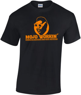 CAMISETA MOJO WORKIN'  Muddy Waters - Negro + Naranja