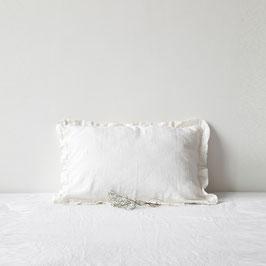 Linen Tales gerüschter Kissenbezug aus Leinen White
