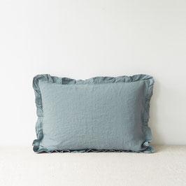 Linen Tales gerüschter Kissenbezug aus Leinen Blue Fog