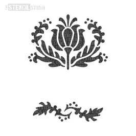 """Schablone """"Tulip Flower Motif & Border"""""""