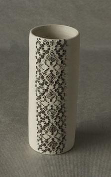 Vase dentelle Blanc motif noir