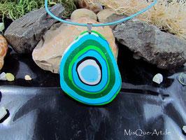 Halskette Wasser & Luft Talisman in blau-grün