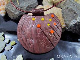 Halskette in Holzoptik Baum Baumrinde mit Blüten braun gelb orange