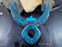 Collier Statement Kette blau schwarz Polymer Clay Art