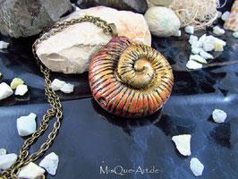 Halskette Spirale Schnecke in Altgold & Bronze Vintage Optik