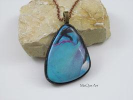 Blickfang Halskette mit lila-schwarz-blauem Stein