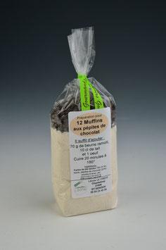 Préparation pour faire 12 Muffins aux pépites de chocolat ou aux raisins