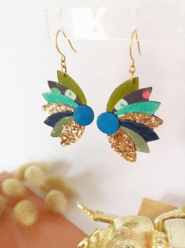Boucles lotus vert foncé, turquoise et bleu foncé