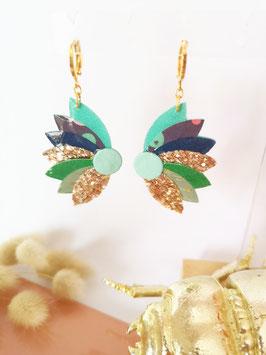 Boucles lotus turquoise, bleu foncé et vert foncé