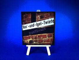 Holzquadrat Hansestadt Buxtehude, 10x10x1,9 cm, Art. #BUX013