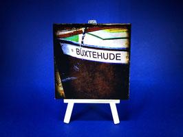 Holzquadrat Hansestadt Buxtehude, 10x10x1,9 cm, Art. #BUX012