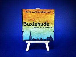 Holzquadrat Hansestadt Buxtehude, 10x10x1,9 cm, Art. #BUX020