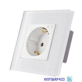 Stopcontact met Wifi en RF433  met glasframe