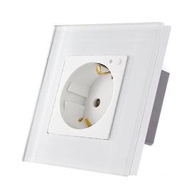 Wifi wandcontact met extra aan/uit knop met glasplaat