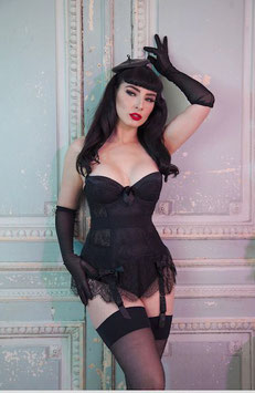 Lace Basque With Bow - Black