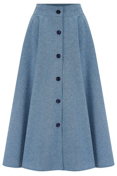 """The """"Beverly"""" Button Front Full Circle Skirt with Pockets - Lightweight Blue Denim, Cotton Chambray, True 1950s Vintage Style"""