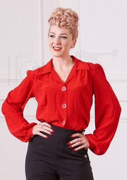 40s Long Sleeve Shirt Blouse - Scarlett Red